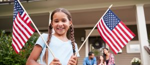 USA local movers - a girl with two USA flags